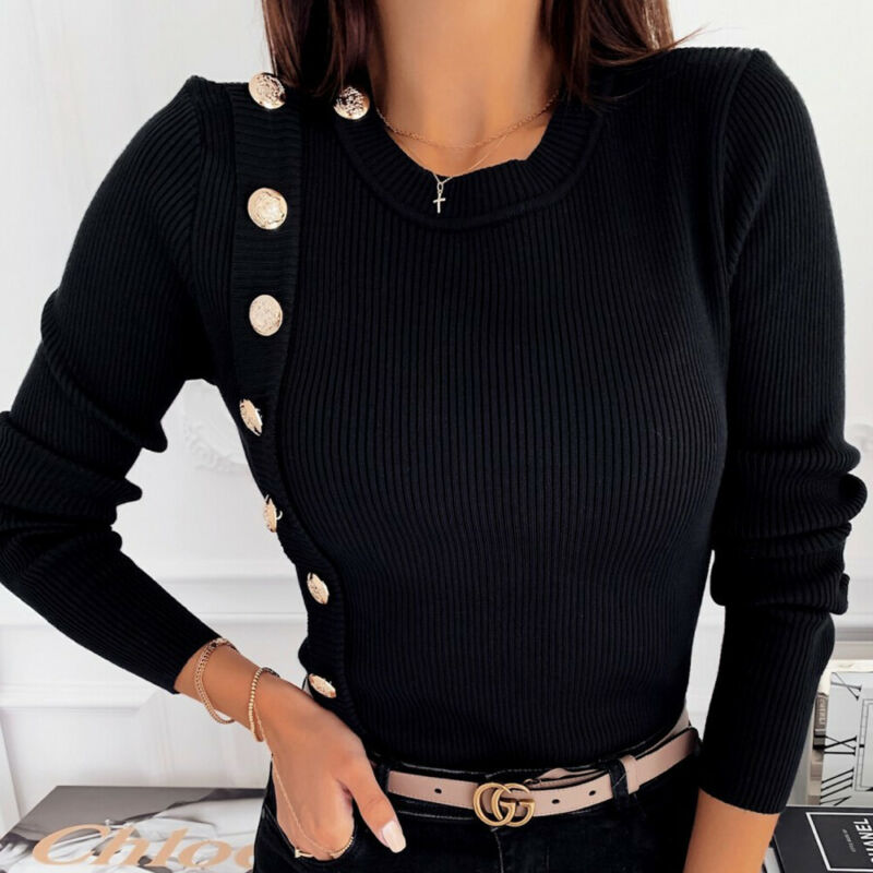 Fashion Solid Women Autumn Winter Warm Casual Knitted Sweater Jumper Button Long Sleeve O Neck Pullover Slim Top