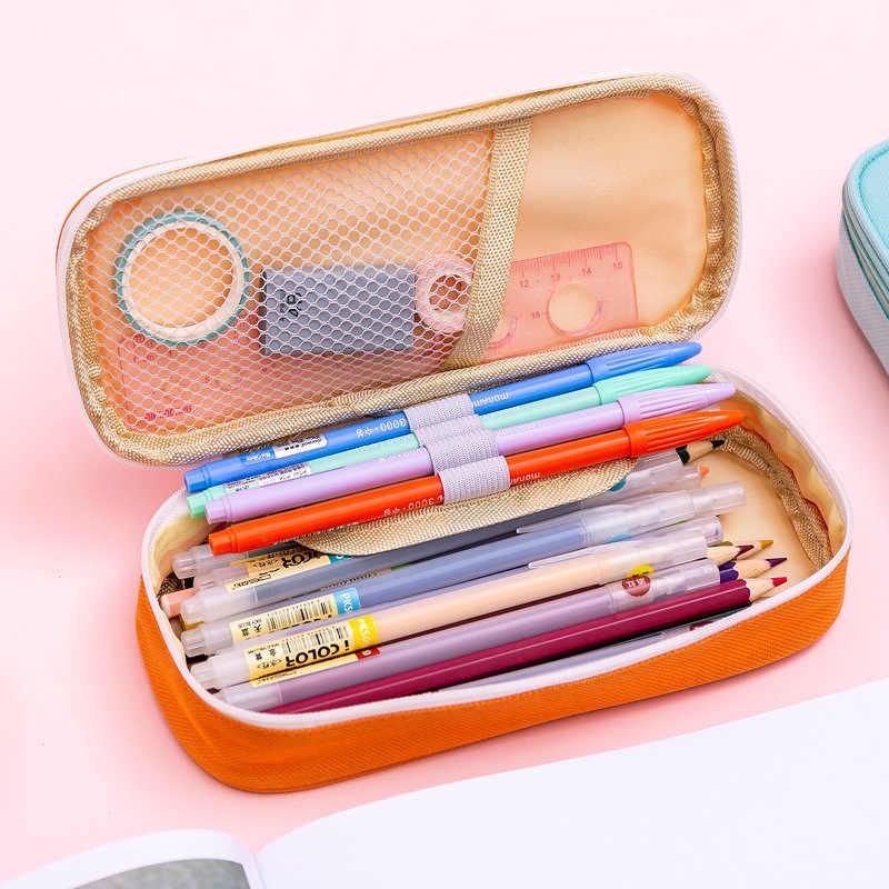 クリエイティブジッパー鉛筆ケースツイルキャンバス大かわいい鉛筆学生のためのバッグガールかわいい学校の文房具用品