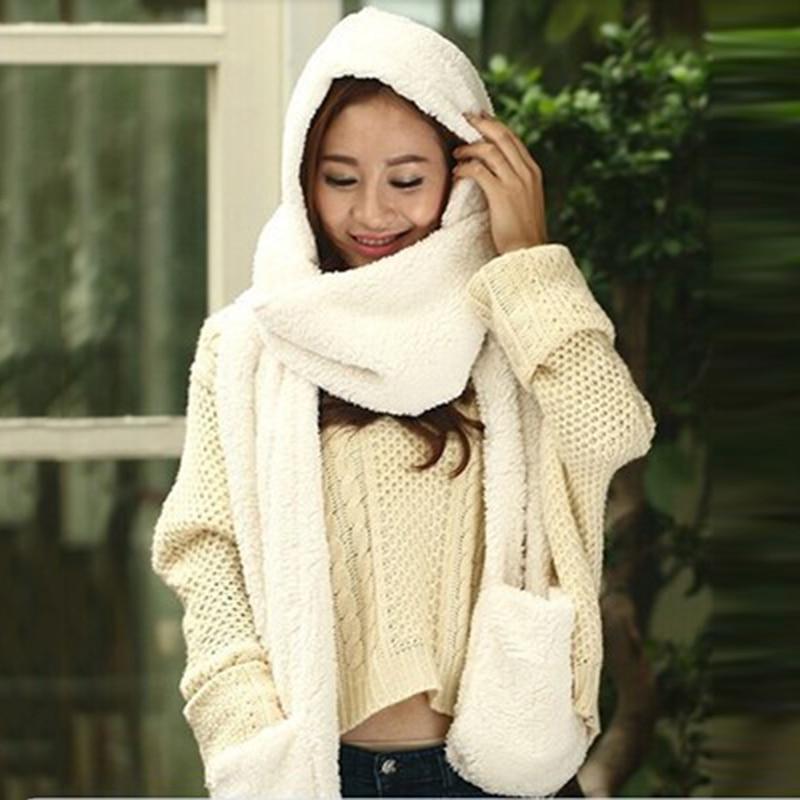 3 Piece Sets Women Winter Warm Soft Hood Scarf Snood Pocket Hats Gloves New Fashion Hooded Scarf Hat Glove