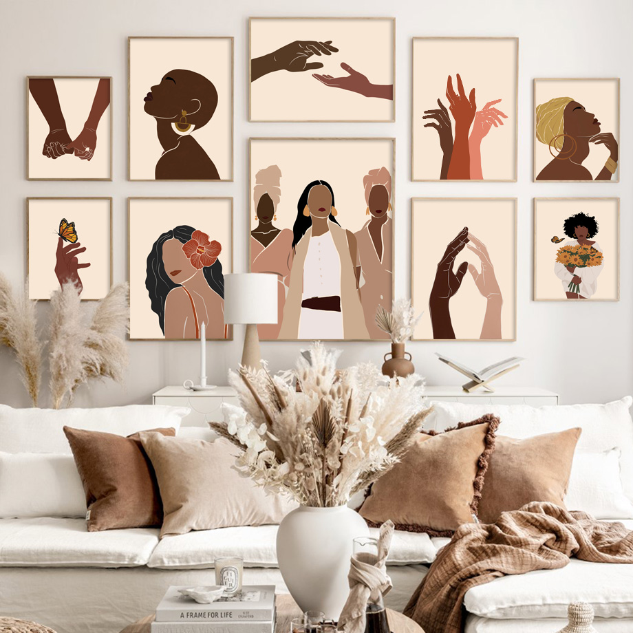 Abstract Black Girl Illustration African Wall Art Canvas Painting Nordic Posters And Prints Wall Picture For Living Room Decor