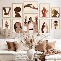 Abstrakte Schwarz Mädchen Illustration Afrikanische Wand Kunst Leinwand Malerei Nordic Poster Und Drucke Wand Bild Für Wohnzimmer Dekor