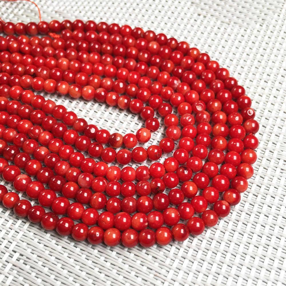Małe koraliki 3 4 5 6MM wysokiej jakości okrągłe naturalne czerwone korale koraliki luźne koraliki izolacyjne koraliki DIY bransoletka naszyjnik biżuteria makin