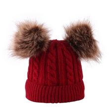 Twist hat Bean Baby Hat Pompon Winter Children Knitted Cute Cap For Girls Boys Casual Solid Color Beanies