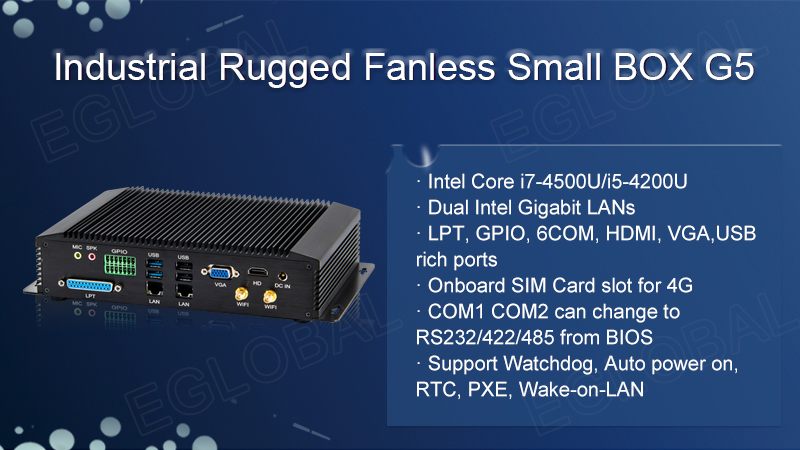 EGLOBAL I5 Industrial Pc For POS Sysytem Core I5 4200U Fanless 6*COM, 1*LPT,  1*GPIO, Dual Lan 4K Support