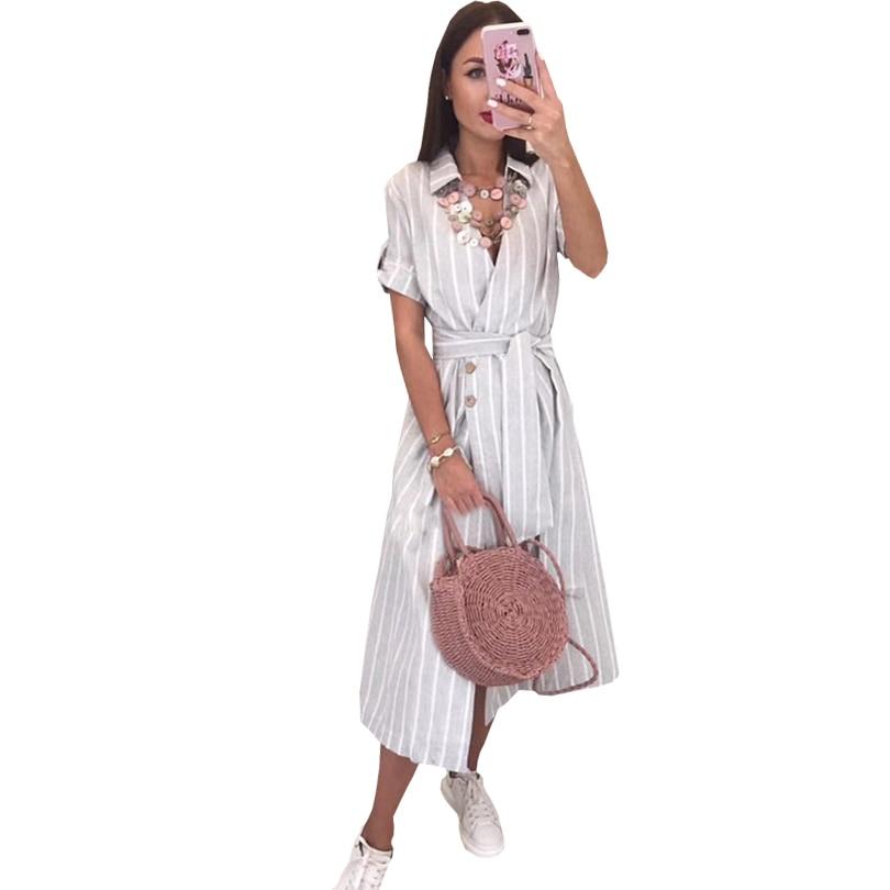 TAOVK Vintage Striped A-line Long Dress Short Sleeve Cross V Neck Sashes Dress Summer Women Buttons Shirt Dresses