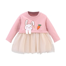 Autumn Baby Girls Clothes Casual Baby Girls Dress Long Sleeve Cartoon Rabbit Print Mesh Dress Kids Pageant Princess Dresses #p