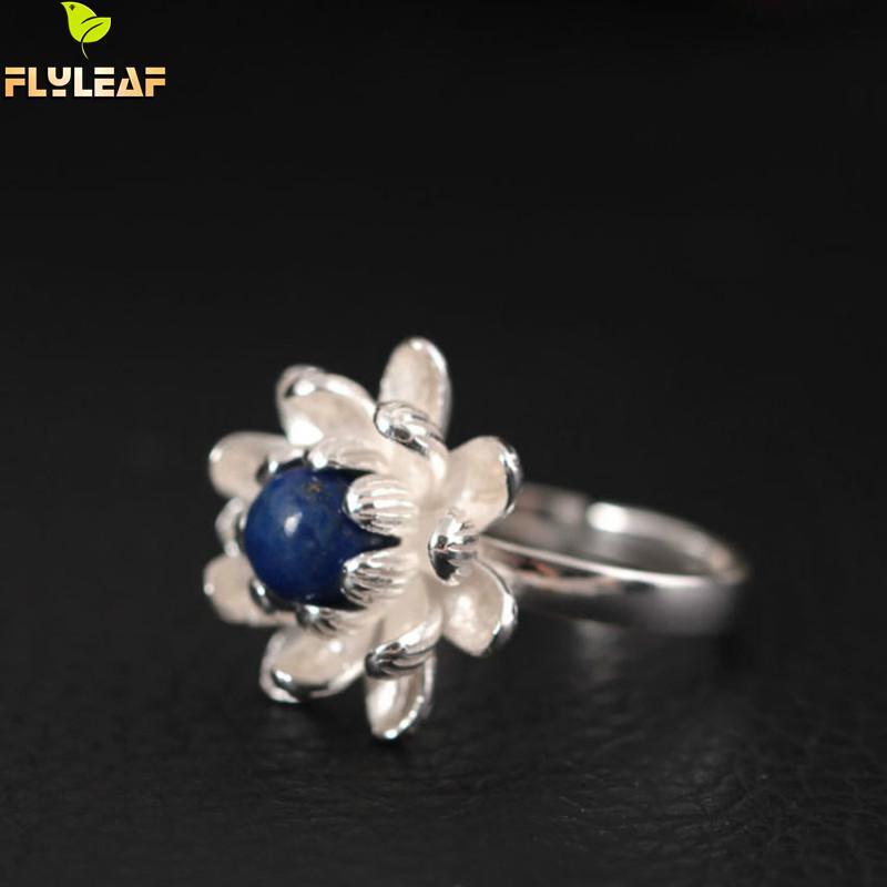 Купить женские открытые кольца в виде цветка лотоса серебро 925 пробы
