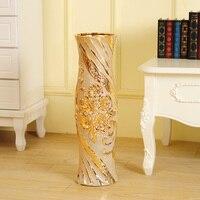 60CM European Daisy Flower Vase Ornament Flower Pot Luxury Figurines Ceramics Crafts Home Decor Cabinet Decoration R4329