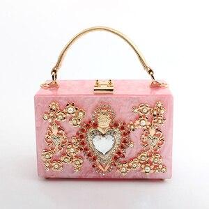 Image 4 - Luxury Acrylic Box Evening Clutch Bags Women Pearl Diamonds Heart shaped Stone Pattern Purses Handbag Ladies Shoulder Bag Dinner