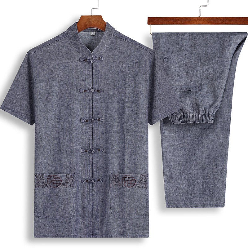 2 Piece Set 2020 New Linen Men's Tang Suit Men's Summer Middle-aged And Elderly Hanfu Short-sleeved Cotton Linen Men's Clothing