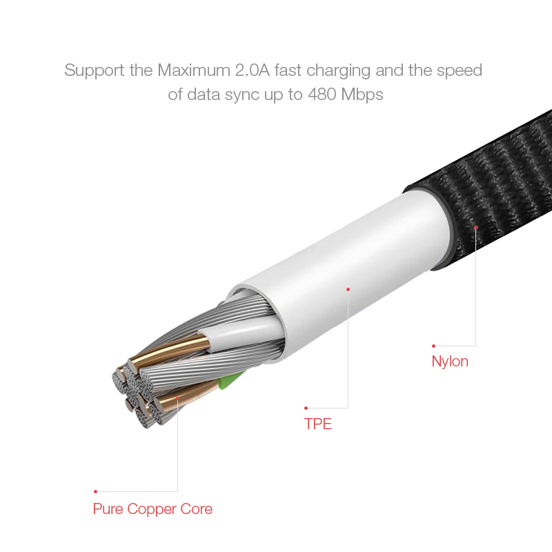 Cafele Micro USB Cable Fast Charge For Huawei P30 Samsung S10 Xiaomi 9 Android Mobile Phone Data Cable USB Charging Cord 180cm in Mobile Phone Cables from Cellphones Telecommunications