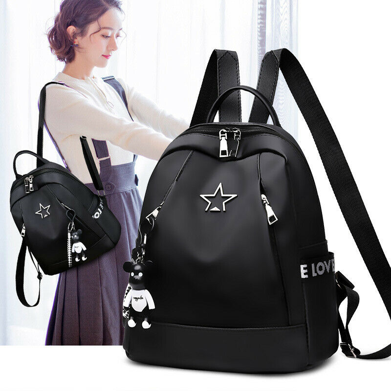 New Fashion Women Large-Capacity Backpack Travel Shoulder Bag Soft Rucksack Ladies Oxford Backpack Black