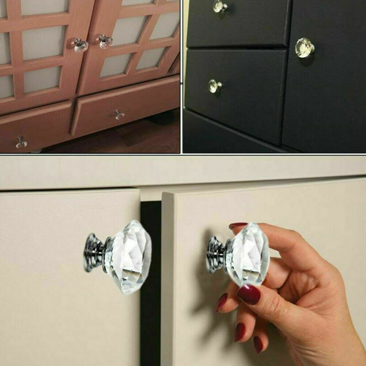 VINTAGE GLASS FACETED KITCHEN CUPBOARD DOOR CABINET CHEST DRAWERS HANDLES KNOBS