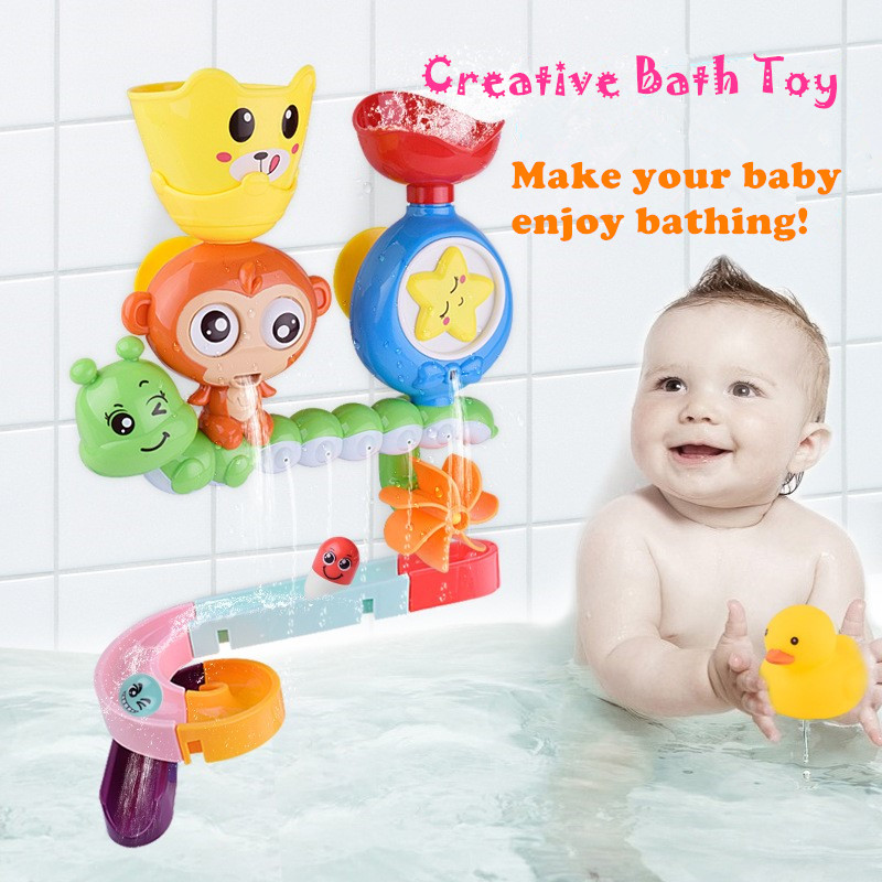 Baby Cartoon Monkey Classic Shower Bath Toy Marble Race Run Track Kids Bathroom Play Water  Bathing Shower Educational Kid Toys