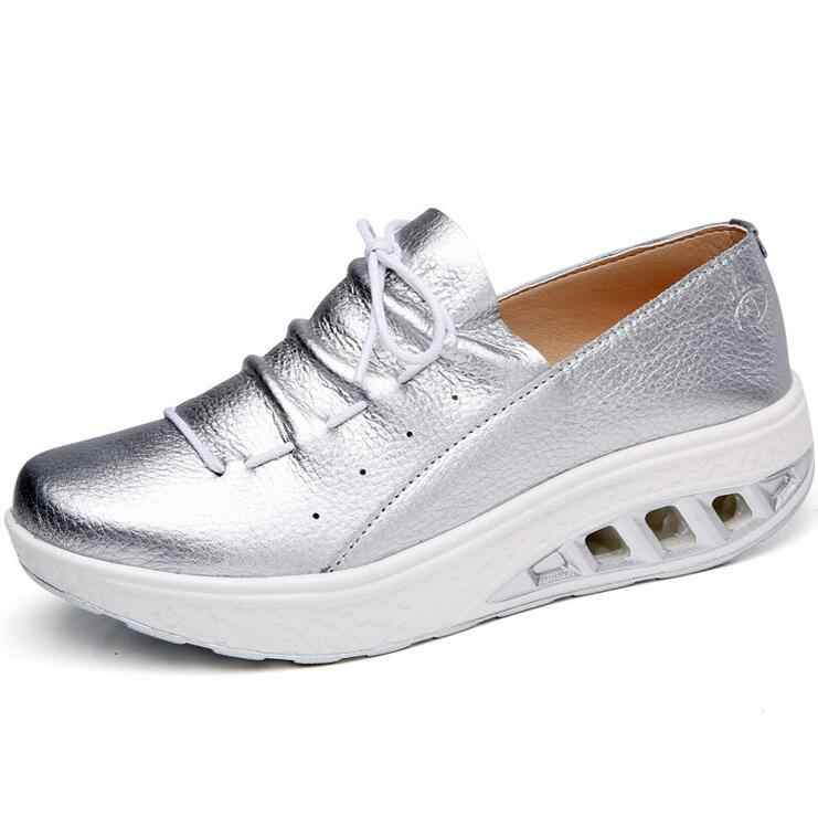 Yeni yaz deri bayan ayakkabı ayakkabı hemşire salıncak çalışma tek ayakkabı takozlar ayakkabı kadın mavi beyaz platform ayakkabılar zayıflama W007
