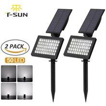T SUN 50 leds luzes do jardim solar ajustável led ao ar livre solar lâmpada ip44 iluminação de parede à prova dwaterproof água para a decoração do jardim luz