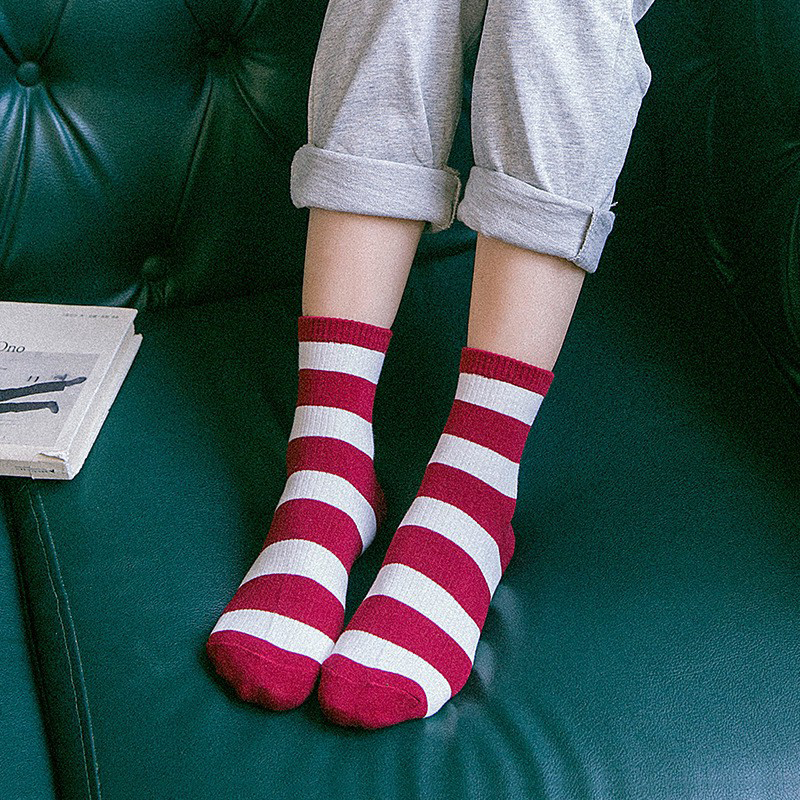 Women Striped Pattern Cotton Crew Socks  Harajuku Brand Fashion High Quality Novelty Funny Casual Cheap Novelty