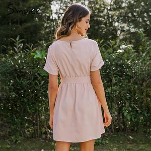 Image 5 - Simplee Vestido corto femenino de verano con manga de murciélago y cuello redondo, traje elegante de color rosa liso para mujer, cintura alta