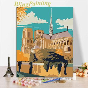 Notre Dame De Paris letnie obrazy olejne według liczb na płótnie dla dorosłych zestaw farb akrylowych Nordic Wall Art Home Decor DIY Frame tanie i dobre opinie CN (pochodzenie) Pojedyncze PŁÓTNO Akrylowe Krajobraz Bezramowe lustra Nowoczesne N246 Ręcznie malowane Pionowy prostokąt