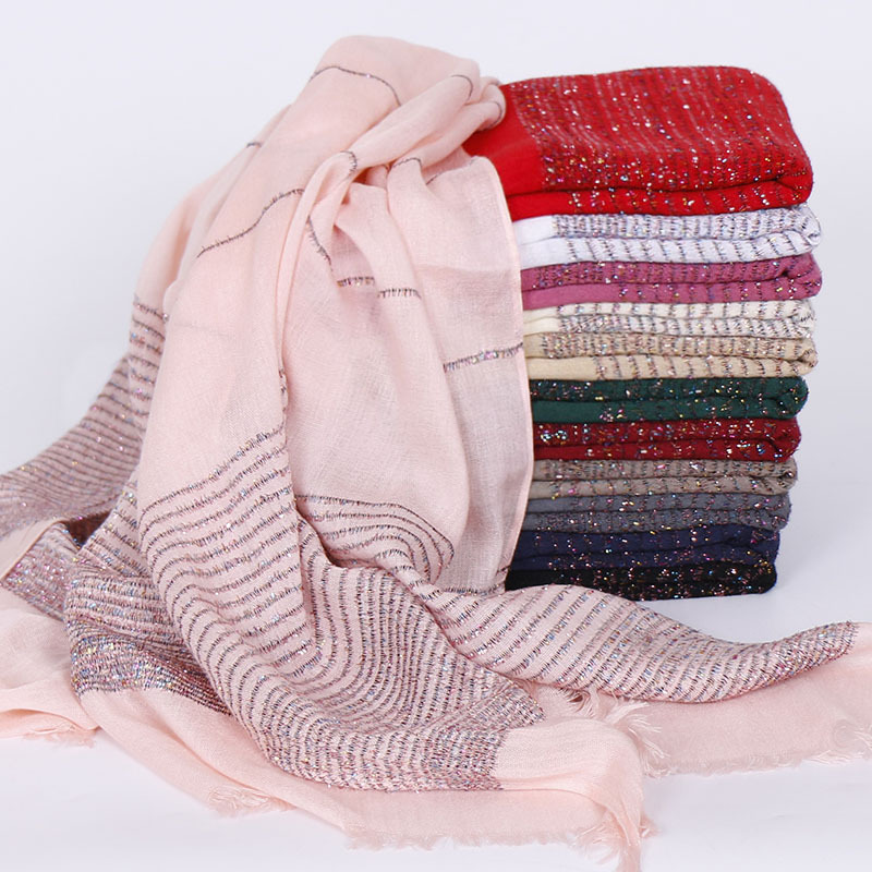 70*180cm Muslim Women Cotton Hijabs Gold Thread Stripes Shawls And Wraps Head Scarf Turban Islamic Hijab Femme Musulman