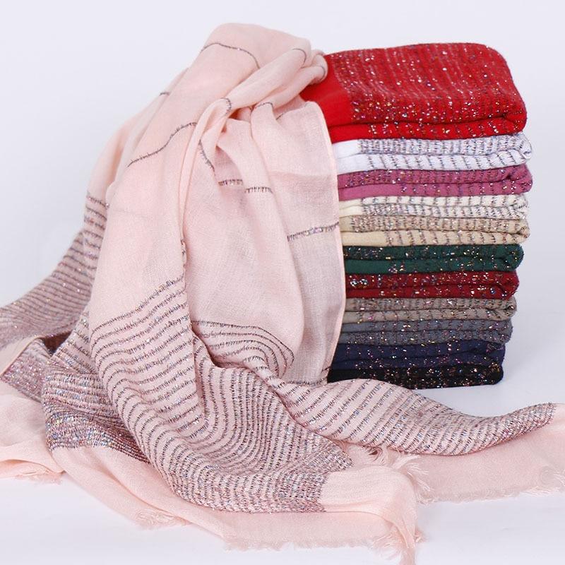 70*180cm Muslim Women Cotton Hijabs Gold Thread Stripes Shawls And Wraps Head Scarf Turban Islamic Hijab Femme Musulman