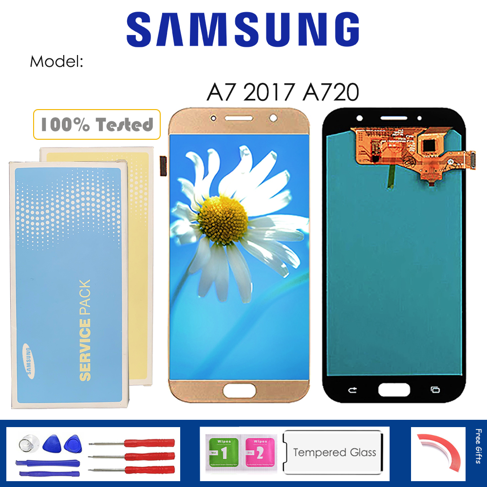 For <font><b>Samsung</b></font> <font><b>Galaxy</b></font> <font><b>A7</b></font> 2017 A720 <font><b>LCD</b></font> Display With Touch Sensor Glass Digitizer Assembly with kit image