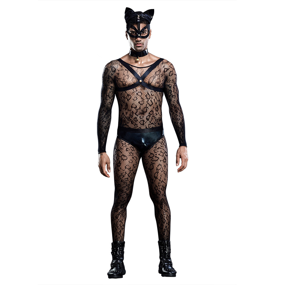 Mens Role Play Sexy Mesh Cat Uniform Set Cosplay Gay Bar Dance Perform Costume Outfit
