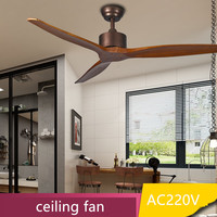 Retro Indoor Wooden Ceiling Fan 52Inch Without Light Wooden Fan Leaf With Remote Control Ceiling Fans AC220V For Bedroom