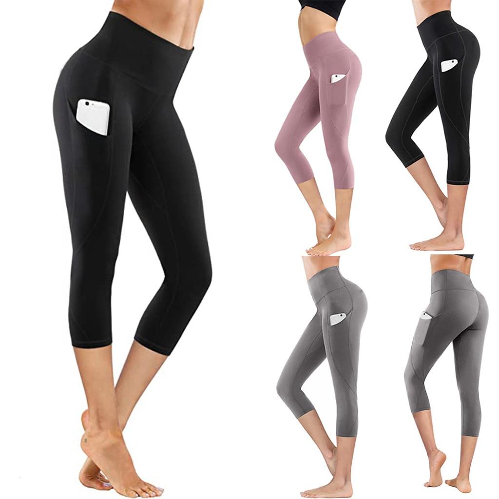 2021 штаны для йоги эластичные спортивные Леггинсы с высокой талией плотные эластичные однотонные Капри с карманами Бесшовные штаны для йоги