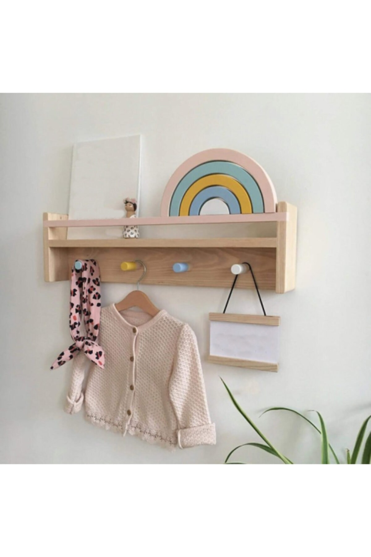 Montessori Bookshelf And Hanger Child Baby Kids Room Library Wood Bookcase Wood Natural Unvarnished Baby Bookcase Wall 60 CM