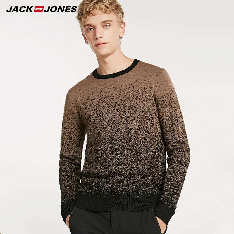 Jack Jones Autumn & Winter Gradient Round Neckline Woolen Pullover Sweater| 218424511