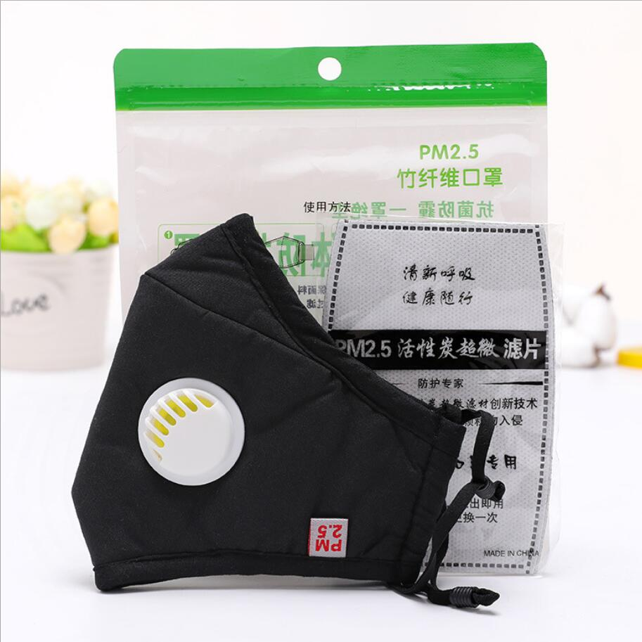 Cotton PM2.5 Anti Haze Mask Breath valve anti-dust mouth mask Activated carbon filter respirator Mouth-muffle black mask face 5