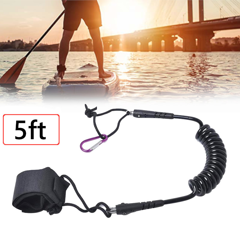 Surfboard Leash Surfing Safety Ankle Rope 5ft 7MM Paddle Board Leash Foot Hand Coiled Safety Rope Surfing Accessory Water Sports