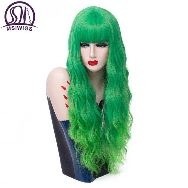 MSIWIGS długie faliste zielone Ombre Cosplay peruki Two Tone z Bangs kobiety syntetyczne peruki środkowej części dla kobiet