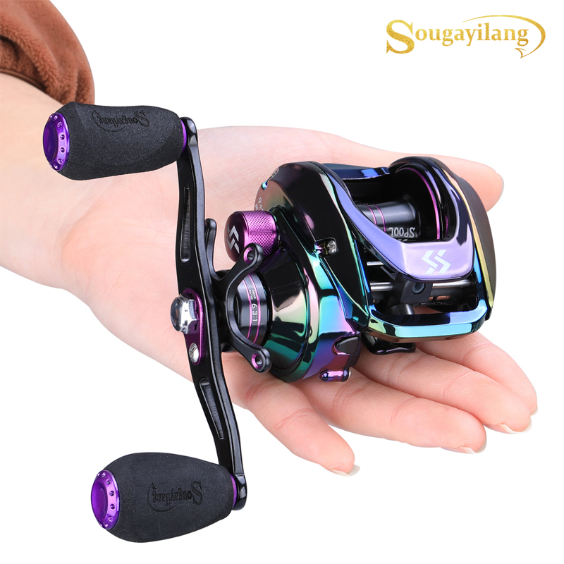 Sougayilang Top Quality 9+1BB Colorful Baitcasting Reel High Speed 6.3 :1 Gear Ratio Carp Fishing Reel Drag Power 8kg