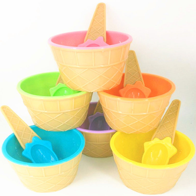 1PC Ice Cream Bowl Spoon Slime Tool Mold Crystal Slime Storage Tool Stirring Cup Kids Interactive Toy For Cotton Clay DIY Kit