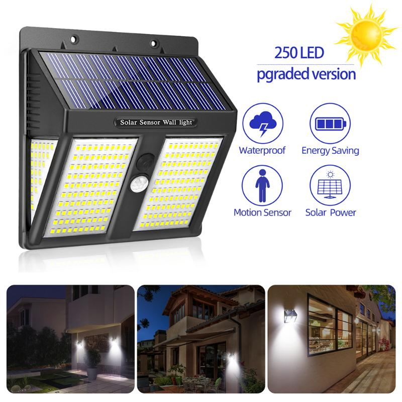 Outdoor 250LED Solar Motion Sensor Wall Light Waterproof Yard Security Lamp Solar Powered Sunlight For Garden Decoration