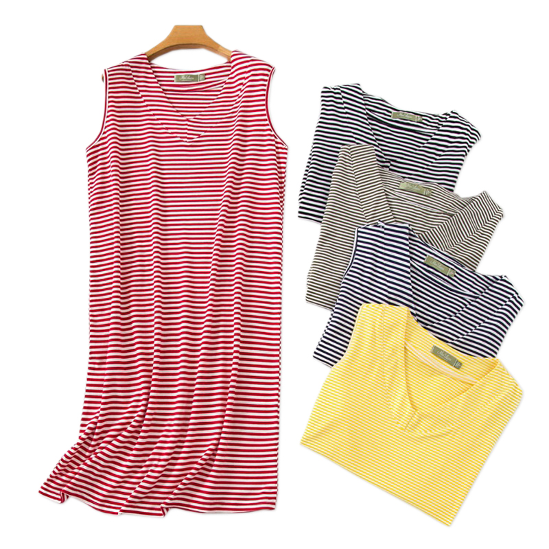 Hot sale Striped Sexy sleeveless nightdress womens sleepdress sleep dress Summer casual nightgowns women Plus size
