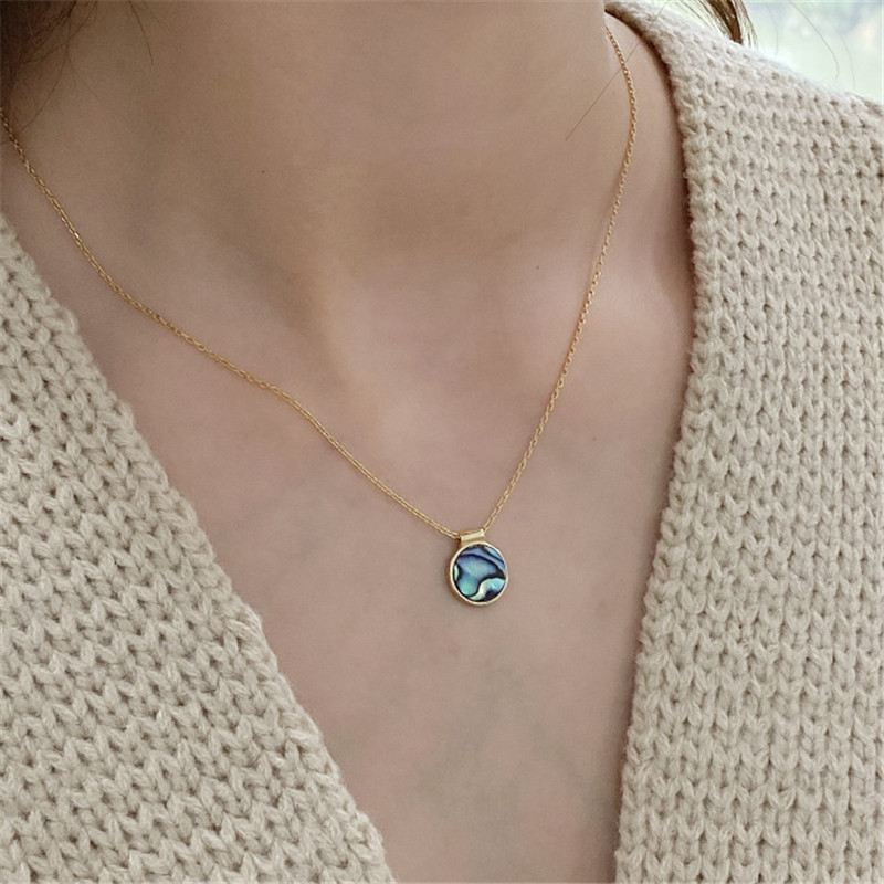 POFUNUO Real 925 Sterling Silver Abalone Shell Pendant Necklace Women Minimalist Simple Chic Charm Fine Jewelry Gold Necklace