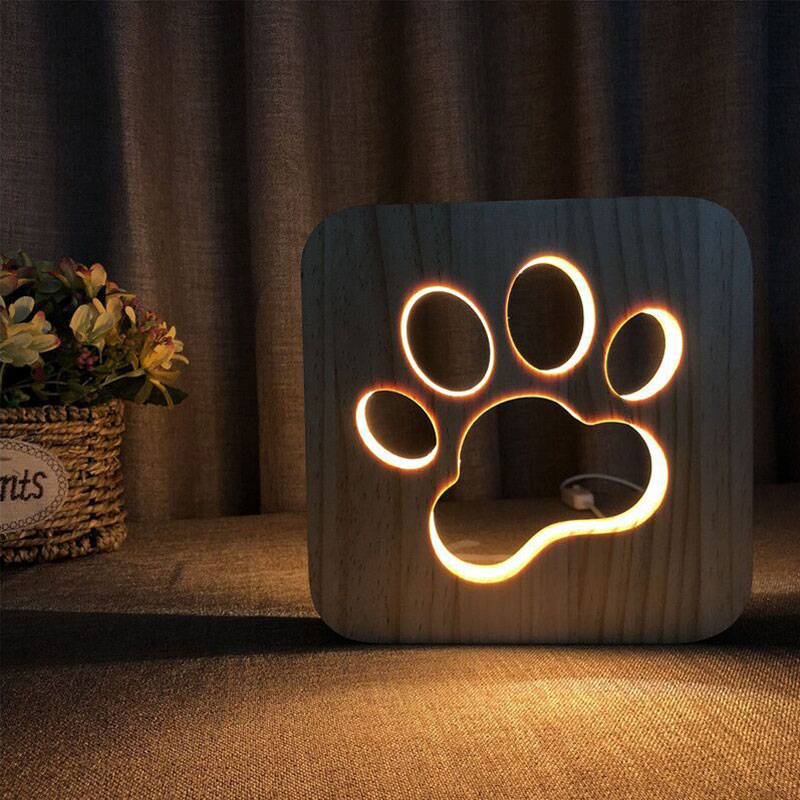 Creative Wooden Dog Paw LED Night Light USB Power Wooden Love Couples Pet Shaped Lights Kids Bedroom Decor For Christmas Gifts