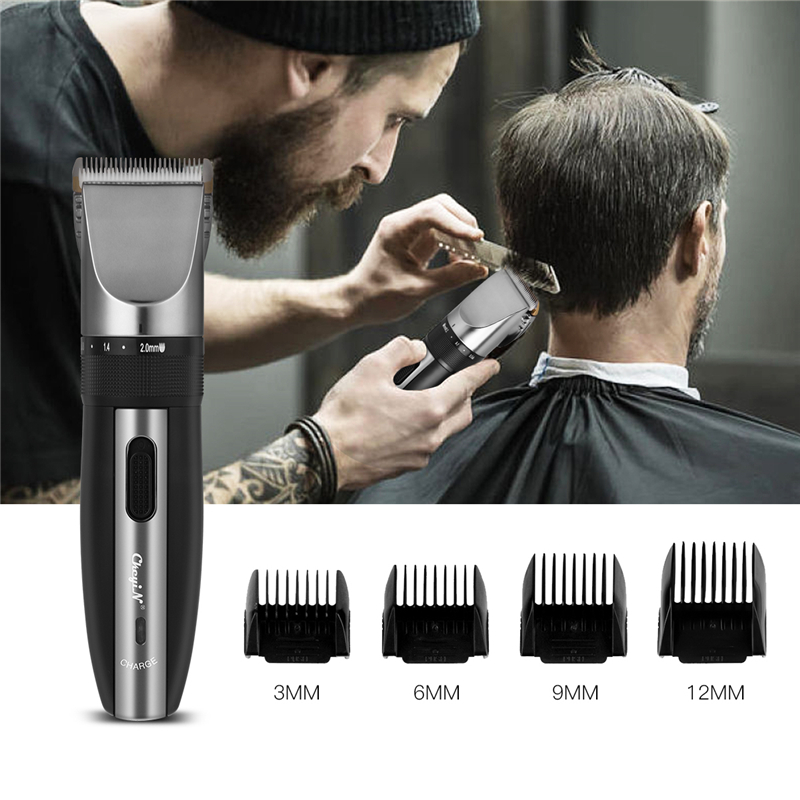 CkeyiN Titanium Ceramic Blade Hair Trimmer Rechargeable Hair Clipper Men Child Haircut Hair Styling Tools Low Noise Cutter