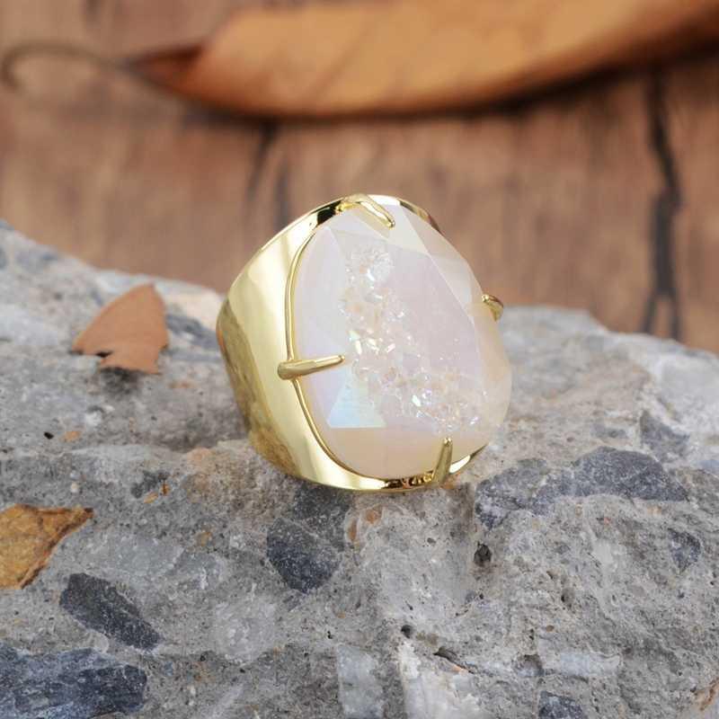 BOROSA Rainbow Titanium Druzy Faceted Claw แหวนทองแดง-สี Teardrop รูปร่างไข่แชมเปญ Druzy แหวน
