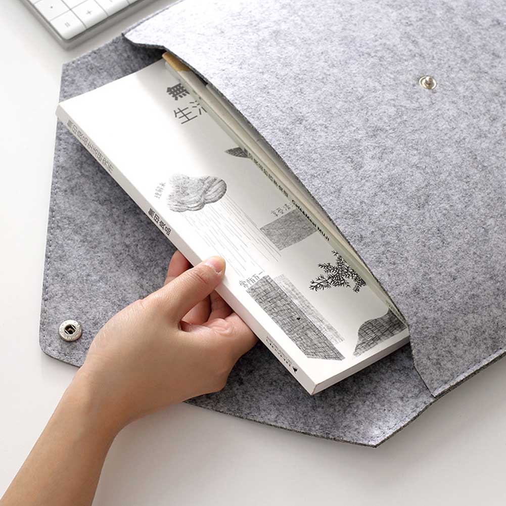 Simple Solid A4 Big Capacity Document Bag Business Briefcase File Folders Felt Filing Bags PR Sale