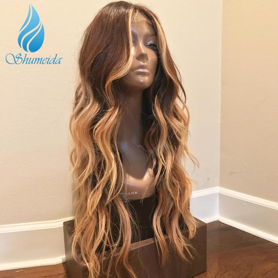 13*6 передние волосы на кружеве парики для женщин с детскими волосами Выделите коричневый цвет парики с волнистыми волосами 100% человеческие волосы бразильские парики Remy - 2