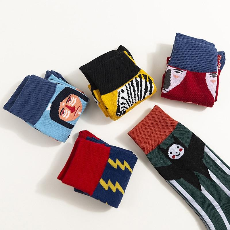 Cartoon Cotton Unisex  Socks 2019 Autumn Winter New Trend Wild Couple Socks Breathable Deodorant Happy Socks Unisex