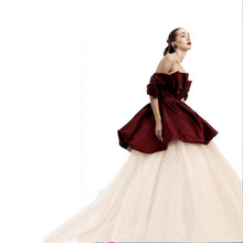 Two Pieces Formal Evening gown Off The Shoulder Bubble Peplum Top and Long Tulle Layers Skirt Fast Shipping Ball Gown Prom Dress