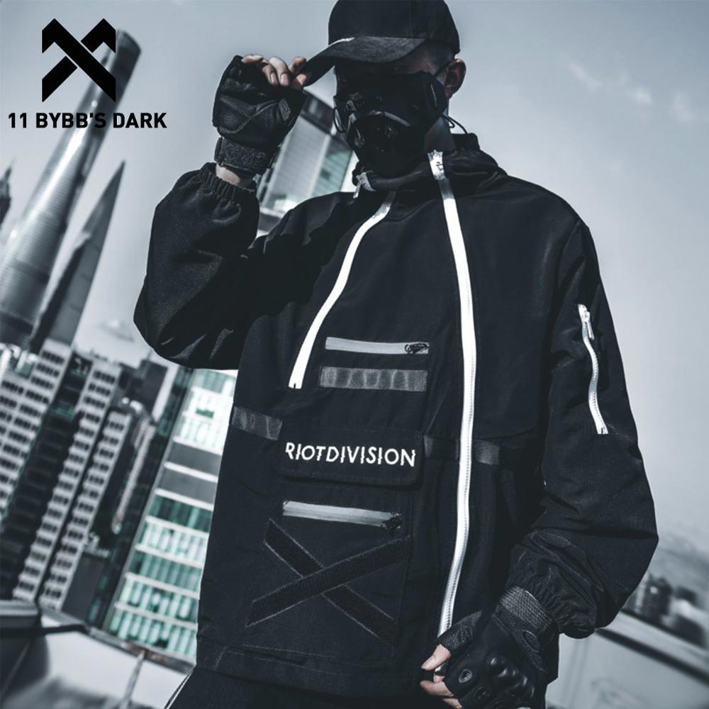 11 BYBB'S DARK Dark Patchwork Printed Men Cargo Jackets 2019 Autumn Casual Streetwear Tops Pullover Harajuku  Hip Hop Male Coat