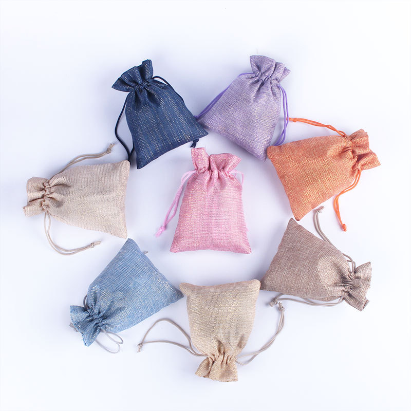 Natural Hemp Drawstring Bags Wholesale Burlap Gift Drawstring Pouch Jute Bags With String 9*12CM