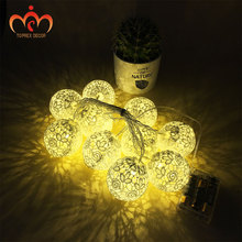 Toprex 2m lace string lights battery operated cotton ball light chain festival LED wedding decoration
