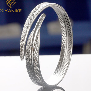 XIYANIKE 925 Sterling Silver New Fashion Feather Cuff Bangles & Bracelet for Women Couples Vintage Creative Party Jewelry Gifts
